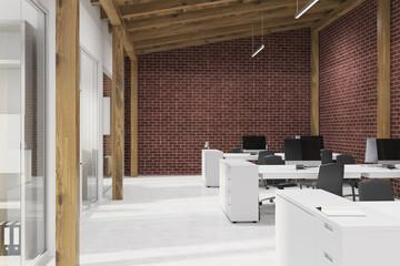 Brick open space office in attic