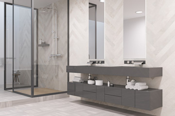 Gray double sink bathroom side