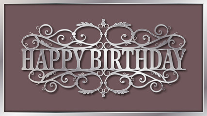 Happy birthday lace plate. Template laser cutting machine for wood, metal and paper. Happy birthday phrase for your design.