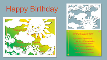 vector, laser-beam cutting, flowers, bugs, clouds, sun. Greeting card. laser cut