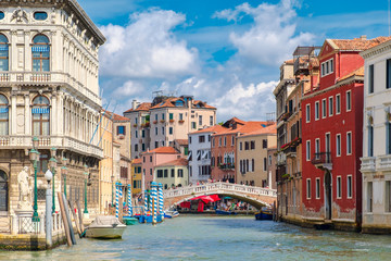 Canals and colorful old palaces in Venice