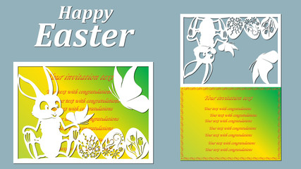 Vector illustration. Easter eggs for Easter holidays. postcard of paper the Easter Bunny, butterfly. Laser cut