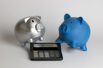 Calculator and piggy bank