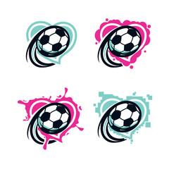 Love Soccer Vector Set of 4