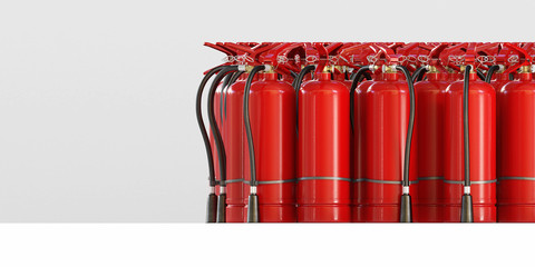 A lot of fire extinguishers on a grey background, front view. Clipping path included. 3d illustration