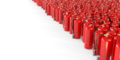 Many fire extinguishers on a white background. Clipping path included. 3d illustration