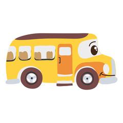 colorful kawaii happy school bus transport