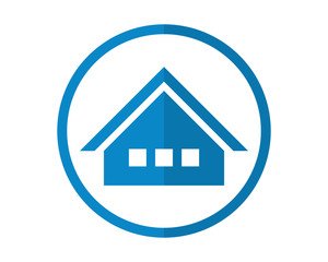 circle blue house housing home residence residential residency real estate image vector icon 1