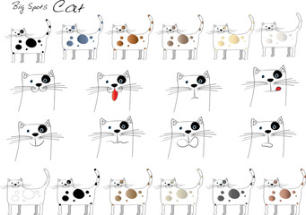 cat cartoon set