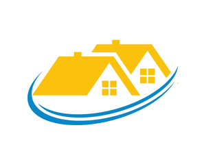 yellow roof house housing home residence residential residency real estate image vector icon 1