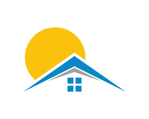 sun house housing home residence residential residency real estate image vector icon 2