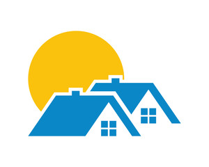 sun house housing home residence residential residency real estate image vector icon 3