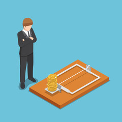 Isometric businessman looking at dollar coin on mousetrap.
