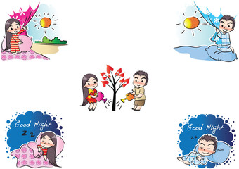 boy and girl fall in love set