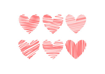 Valentine card design with six hearts