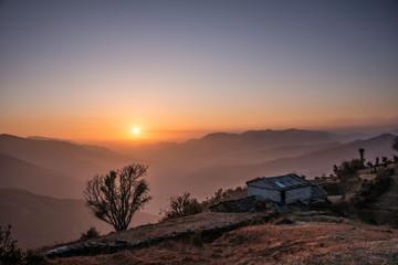 Sun set view from a hilltop