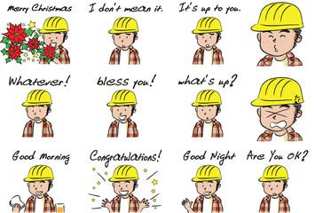 cartoon construction worker face set