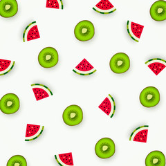 Colorful pattern of kiwi and watermelon. Abstract image of fruit, minimalistic style. Top view. Summer food concept. Vector illustration