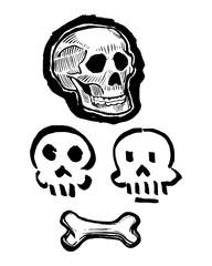 Skulls and bone vector ink illustration