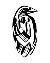 Raven ink vector illustration