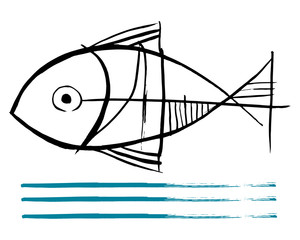 Fish vector ink illustration or drawing