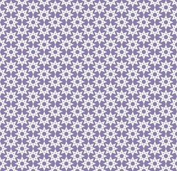 Abstract white pattern geometric of Islamic, Arabesque ornament on purple background. Seamless Vector illustration.