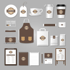 Corporate identity template. Logo concept for coffee shop, cafe, restaurant. Realistic mock up template set of menu, package, cup, apron, bag, tag, cardboard.