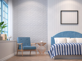 Vintage bedroom with blue furniture 3d rendering image.The Rooms have  wooden floors and white brick walls.furnished with blue furniture There are blue window overlooking to the nature.