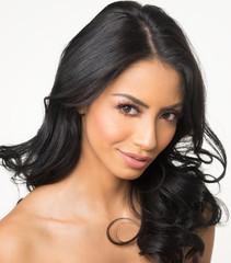 Beautiful woman's face and long dark hair