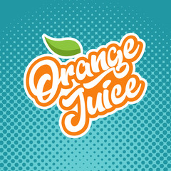Orange juice calligraphy emblem