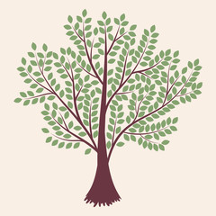 Tree. Abstract  silhouette isolated on light background. Vector illustration