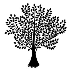 Tree. Abstract  silhouette isolated on white background. Vector illustration