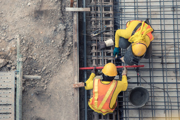 aerial view of construction worker in construction site Wall mural