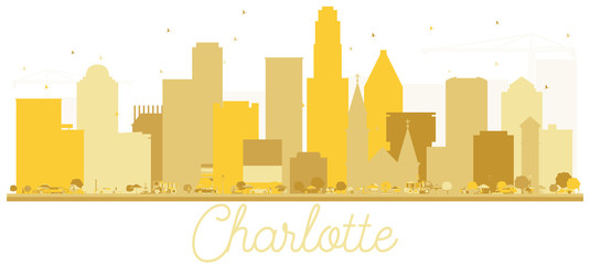 Charlotte North Carolina USA City Skyline Golden Silhouette.
