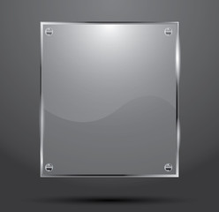 Glass Plate Isolated On Dark Background.