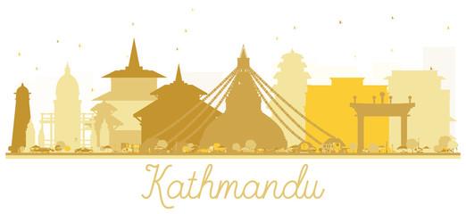 Kathmandu Nepal City Skyline Golden Silhouette.
