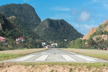 The Saintes island in Guadeloupe, small airport in the nature, on the beach