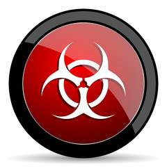 Biohazard vector icon. Modern design red and black glossy web and mobile applications button in eps 10