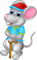 funny mouse cartoon standing bring stick with smile