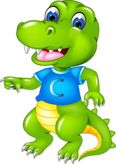 funny crocodile cartoon standing with smile and waving