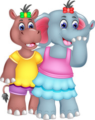 friendship of elephant and hippo cartoon standing with smile and hugging