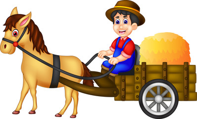 handsome farmer cartoon bring straw using horse with smile