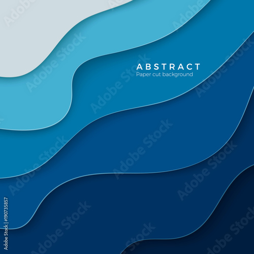 3d abstract blue background with paper cut shapes design layout for business and elements posters