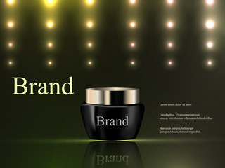 Vector 3d, cosmetics, cream on a dark green background with bright lights, luxury, advertising, catalog, poster
