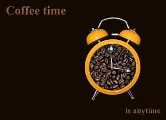 Yellow alarm clock with coffee beans inside. Spoons instead of hour hands. Black background.