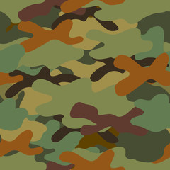 Seamless pattern. Texture uniform military camouflage army. Woodland. Vector