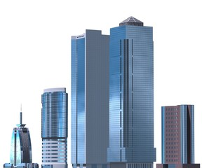 Skyscrapers 3D Illustration isolated on white background