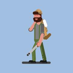 Hunter walking with gun and jacket