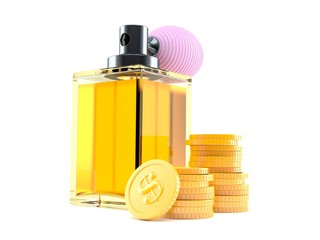 Perfume bottle with stack of coins