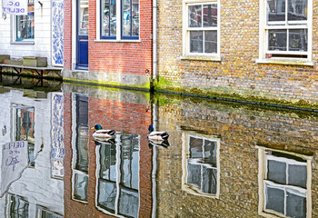 Reflection at water canal in city Delft, Netherlands